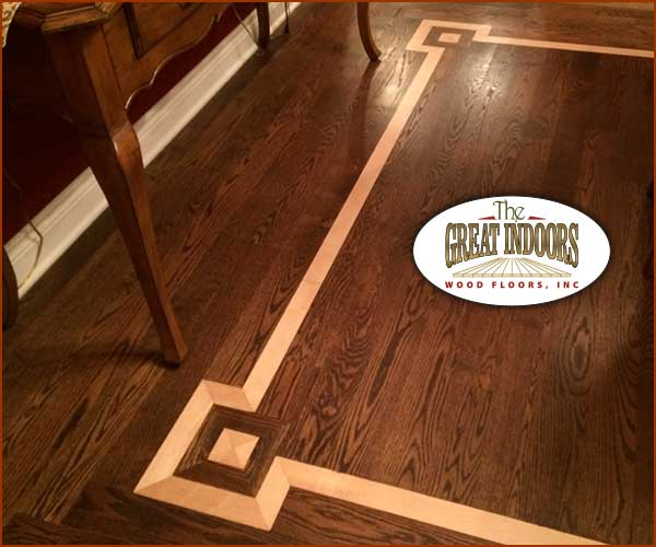 Wood Inlay Into A Hardwood Floor Creating An Interesting Border In Indianapolis Home